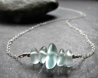 Seafoam Sea Glass Necklace for Women- Sterling Silver, 14K Gold Filled or Rose Gold Fill-  Sea Foam Mint Green Seaglass- Beach Glass Jewelry