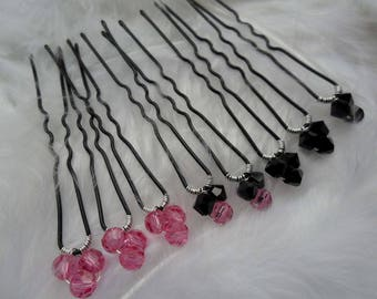 COUPON 8 hair pins bridal hair accessories dark pink swarovski pearls