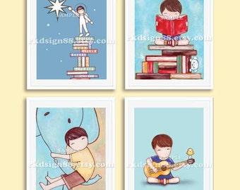 Children's wall art, prints, nursery art print, baby boy nursery decor, astronaut art, elephant art, reading Set, 4 prints