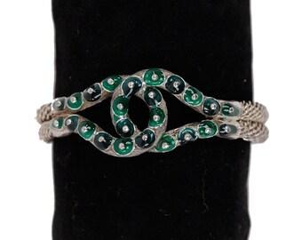 LARA CREATION Vintage Sterling Silver 925 BRACELET Bangle w/ Green Enamel