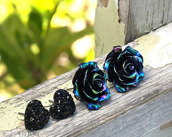 Oil Slick Black Rose and Black Glitter Faux Druzy Heart Stud Earrings - 2 Pair Set on Titanium Posts