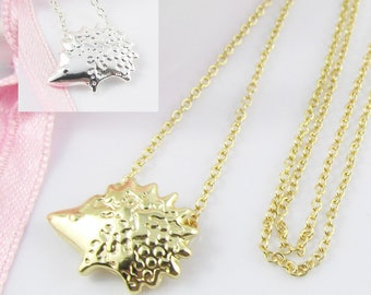 Cute Little Hedgehog Charm Pendant Necklace 48cm Select Gold or Silver