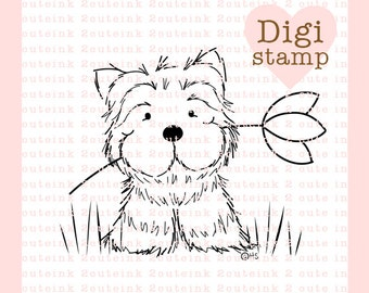 Buddy the Puppy Digital Stamp for Card Making, Paper Crafts, Scrapbooking, Hand Embroidery, Invitations, Stickers, Coloring Pages