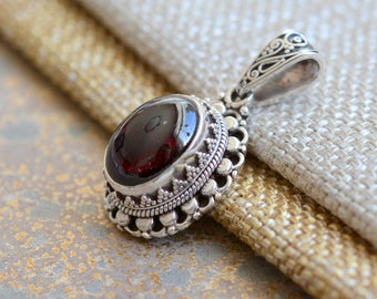 Garnet pendant etsy garnet pendant capricorn aquarius statement sterling silver nepal gemstone january birthstone gift for mom her one bid17 0211 aloadofball Images