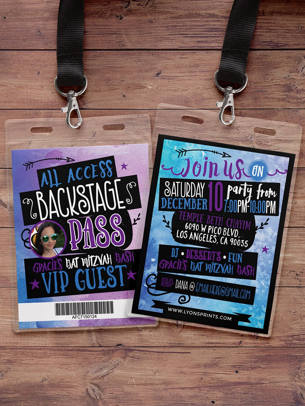 tie dye art party watercolor vip pass backstage pass vip invitation birthday invitation bat mitzvah lanyard rock star birthday