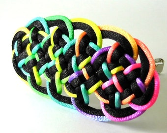 Chinese Knot Hair Barrette (Plum Blossom Knot)- Rainbow & Black