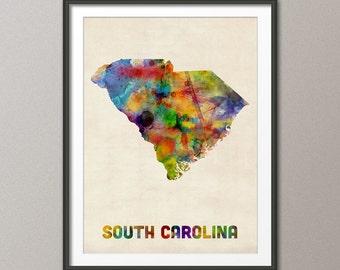 South Carolina Watercolor Map USA, Art Print (398)
