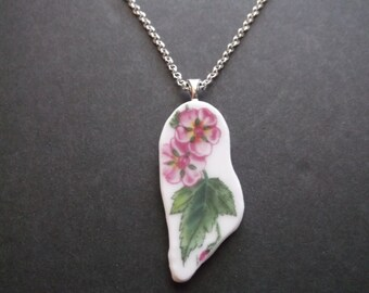 Broken China Plate Necklace - Handmade Pink Flowers and Green Leaves necklace made from a recycled broken plate