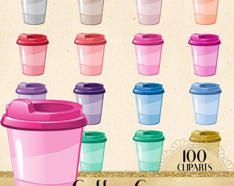 100 Coffee Cup Cliparts, Coffee Clipart, Digital Coffee, Coffee Cups, Coffee Mugs, Latte, Espresso, Mocha, Frappe, Printable, Commercial Use