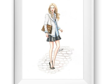 Fashion illustration print, Fashion art, watercolor, girl art, girls room art, vanity art - The Classics