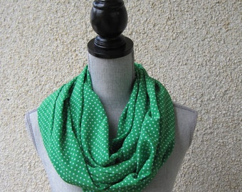Fabric scarf, Infinity scarf, tube scarf, eternity scarf, loop scarf, long scarf in a green polka dot polyester fabric
