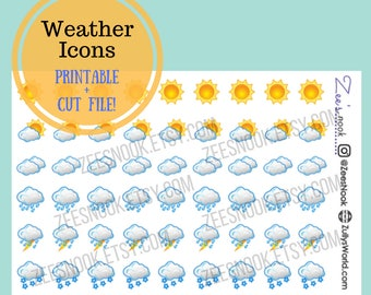 Weather Icons - Printable with Cut File