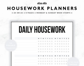 HOUSEWORK PLANNERS / Home Organizer / 2018 Planner / Home Planner / Home Organization / Organizer / The Frankie Planners in Smoke / 422