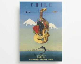 Vintage Travel Poster Chile Giclée Print