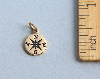 Compass Charm, Natural Bronze Compass Charm, Nautical Charm, Tiny Compass Charm, Graduation charm, Travel charm, 10mm ( 1 piece )
