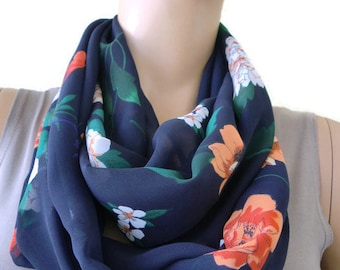 Navy blue Midnight garden,luscious floral chiffon Infinity scarf Circle scarf Loop scarf-Instant gratification