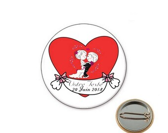 Custom wedding Ø25mm pin badge