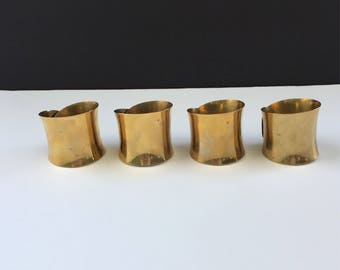 Set of 4 Mid Century Brass Napkin Rings