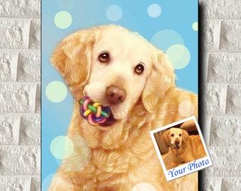 Custom Dog Portrait, Custom Pet Portrait from Photo - Pet Portrait Painting - ALL Formats/Sizes - Hassle-Free Printable