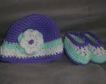 Hand Crochet Baby Hat and Booties