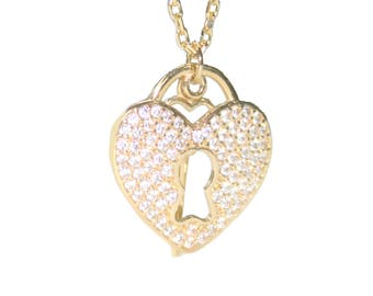Yellow Gold 14 with Cubic Zirconia Hear&key Pendant For Ladies Necklace