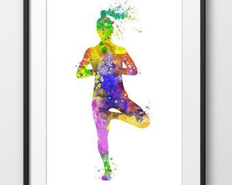 Yoga Print No2, Yoga Pose Poster, Yoga Watercolor, Yoga Art, Yoga Print, Yoga Decor, Yoga Painting, Yoga Home Decor (A0264)