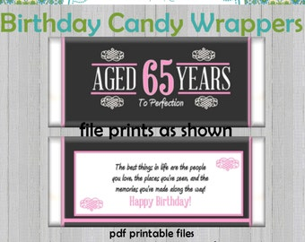 65th Birthday Party Favors Hershey's Candy Bar Wrappers Pink