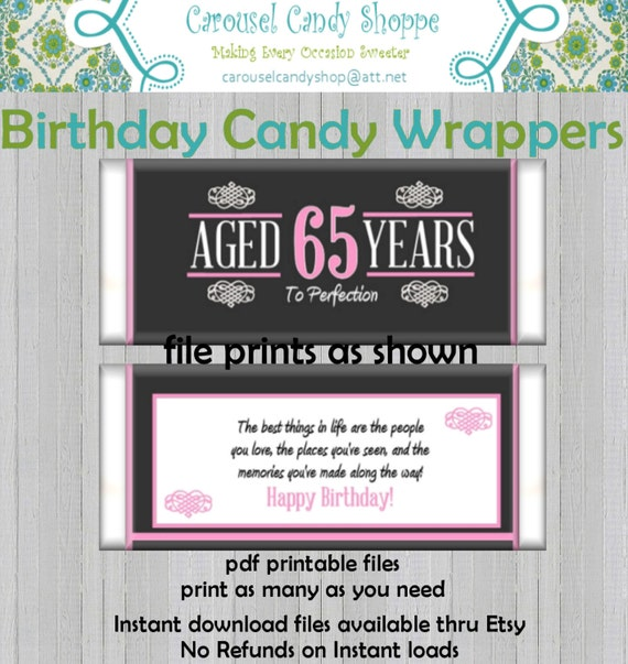 18th Birthday Birthday Party Favor Gumball Candy: 65th Birthday Party Favors Hershey's Candy Bar Wrappers