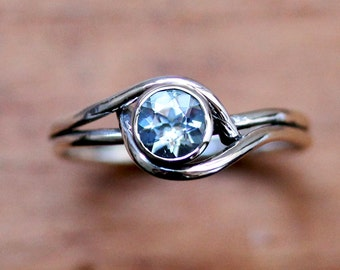 Sterling silver aquamarine ring silver, March birthstone ring, aquamarine ring, aquamarine engagment ring promise ring mini pirouette custom