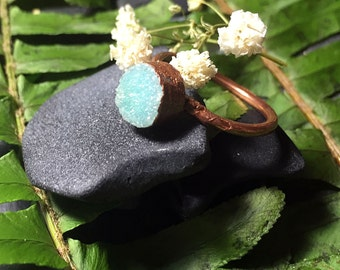 Teal Druzy Ring Size 6.5 | Boho Ring | Stacking Ring Druzy Ring Aqua