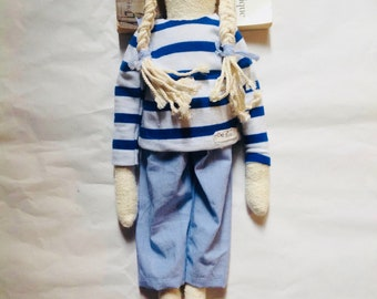 organic rag doll, vintage, April the fisherman's daughter with her French sailor and her striped trousers.