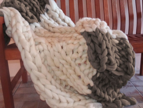 Chunky Blanket, 32x48, Pure Merino Wool, knit blanket, throw, hand knit, wool blanket, fall trending