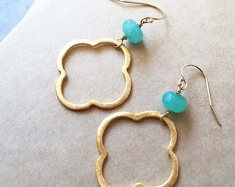 Gold and Blue Faceted Agate Rondelle Earrings