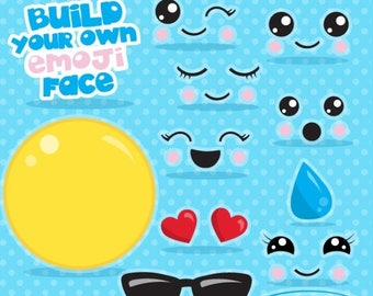 80% OFF SALE Emoji clipart commercial use, Build you smiley face clipart vector graphics, build your emoji party digital clip art - CL1063