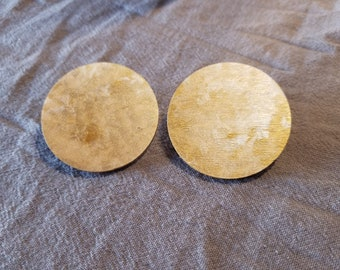 Hand-painted Pearl White and Gold Round Stud Earrings