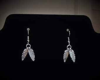 Double Feather Remembrance Dangle Earrings