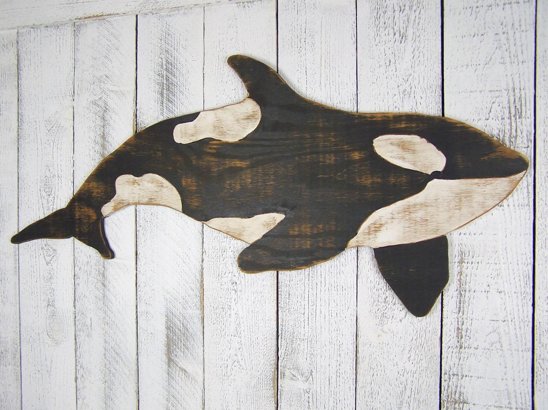 Orca Whale Sign Killer Wall Art Wooden Decor