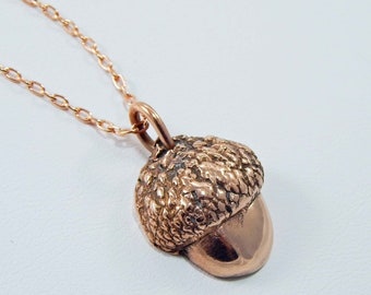 Copper Acorn Necklace. Copper Clay Necklace. Copper Clay Pendant. Acorn Necklace. Autumn. Copper Necklace. PMC. Metal Clay. Copper Pendant.