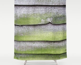 Barn Shower Curtain, Farmhouse Decor, Shabby Chic Shower Curtain, Country Shower Curtain, Cottage Chic, Fabric Shower Curtain, Green, Gray