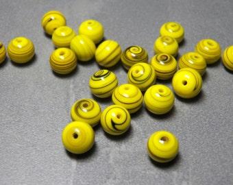 Vintage German Yellow with Black Swirls 8mm Round Glass Beads (10)