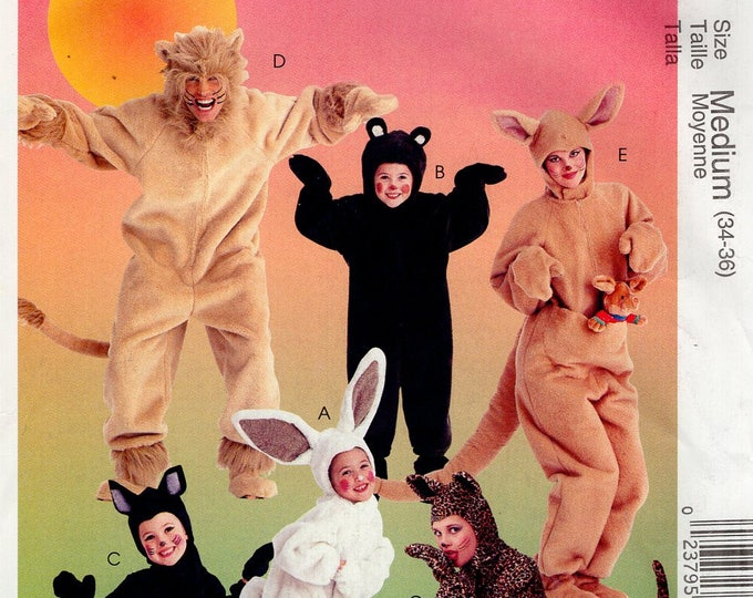 FREE US SHIP Sewing Pattern McCall's 238 6106 Adult Animal Costumes Uncut Halloween unisex Chest Bust 34 36 38 40 42 44 46 Lion Kangaroo..