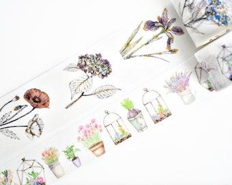 Gold Foil Flowers Washi Tape, Pot Flowers Washi Tape, Japanese Washi Tape, Masking Tape - WT397,8