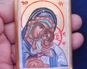 miniature virgin mary mini-icon 5x6,5.byzantine icon.greek favor.handpainted icon