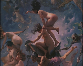 Nude Witches Print - Faust's Vision - Luis Ricardo Falero -  Romantic Art Movement -  Erotica - Witches - Demons - Witches Sabbath - Nudes