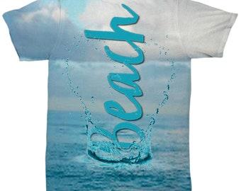 Beach T-Shirt Beach Love Splash All Over Print T-Shirt Original Design