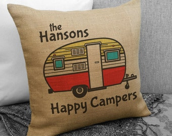 Personalized Happy Campers Travel Trailer Decor, Vintage Camper Design, Personalized Camping Gift, Camper, Gift SPS-058 Burlap