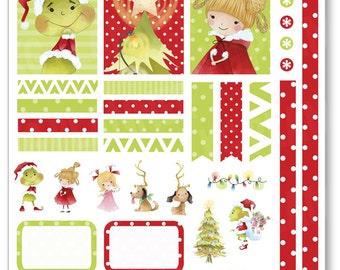 Christmas Grouch Decorating Kit / Weekly Spread Planner Stickers for Erin Condren Planner, Filofax, Plum Paper