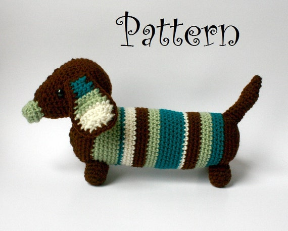 Amigurumi Wiener Dog Pattern : Instant download dachshund crochet pattern pdf permission