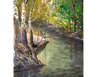 Landscape Painting watercolor sycamore Print River with trees water Reflections with Fall colors  Giclee