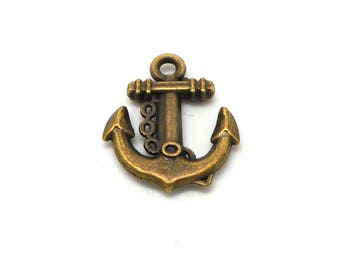 5 color anchor charms bronze